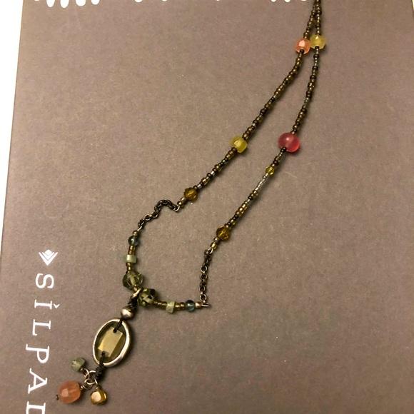 Silpada necklace. Chalcedony, Smokey quartz,glass